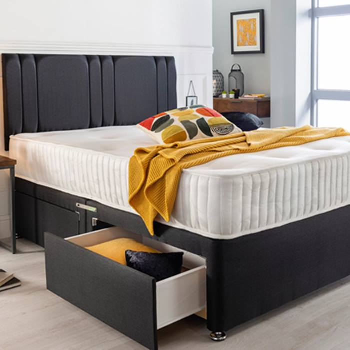Luxury Divan Bed With Memory Foam Mattress & Headboard - 6 Sizes & 3 Drawer Options