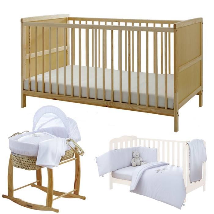 Kinder Valley 12 Pc Clair de Lune Cot Bed & Nursery Set (Natural)