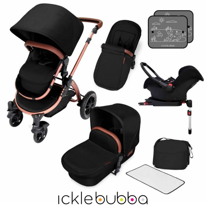 Ickle Bubba Stomp V4 Bronze Frame Travel System With Galaxy Carseat & Isofix Base - Midnight Bronze