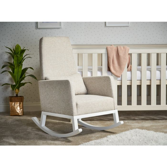 Obaby High Back Rocking Chair - White/Oatmeal