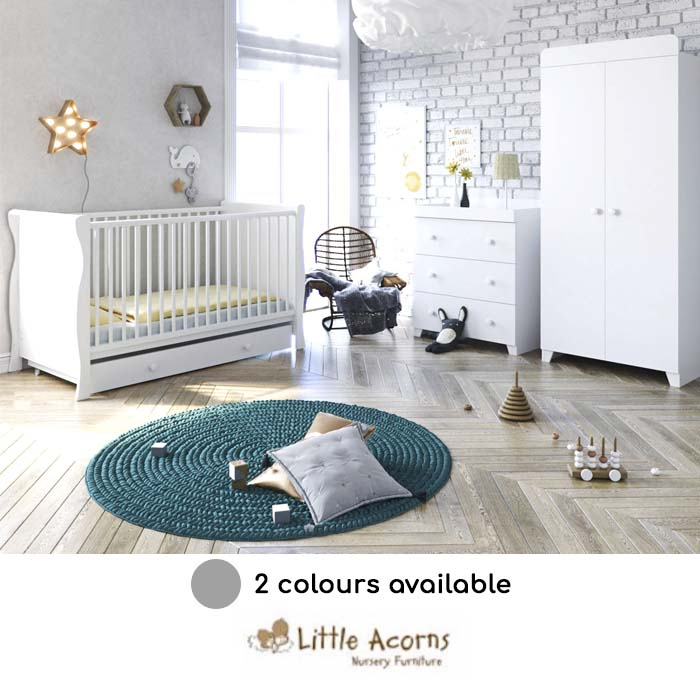 Little Acorns Sleigh Cot Bed 5 Piece Nursery Furniture Set With Deluxe 4inch Foam Mattress