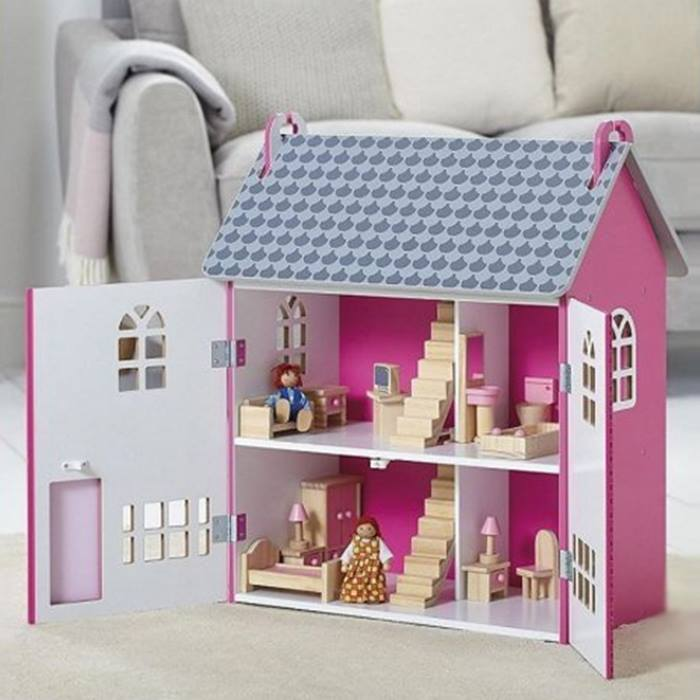 Pink Wooden Dolls House With Furniture