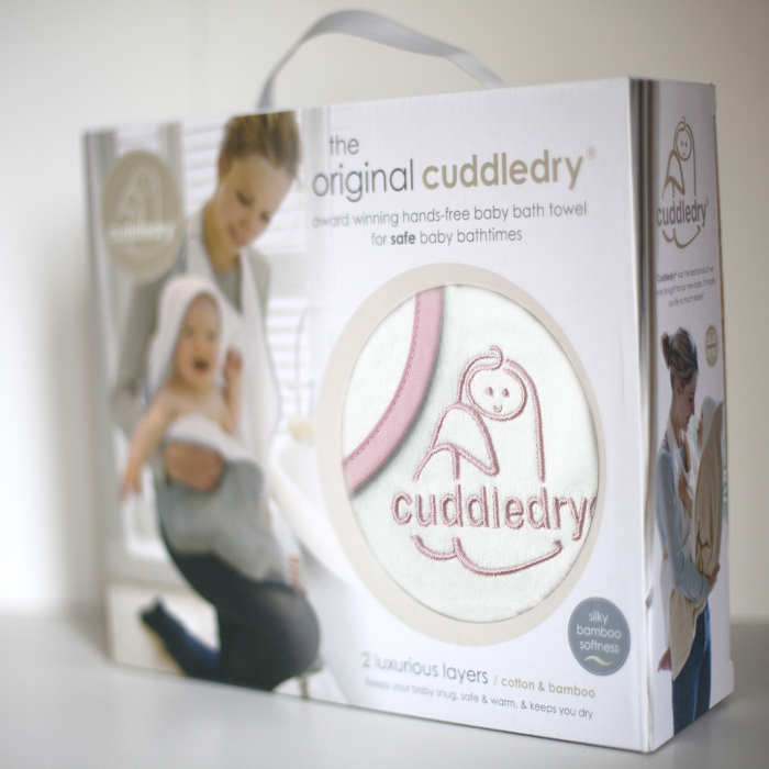 Cuddledry hands free towel pink edge on white pack front