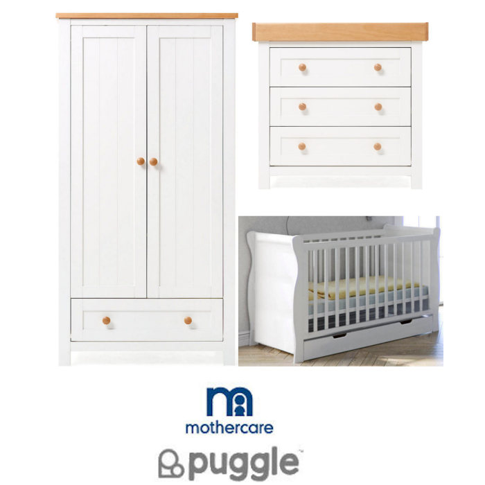 Puggle Mothercare Sleigh Cot & Drawer 6 Piece Nursery Furniture Set with 4 Inch Deluxe Foam Mattress - White