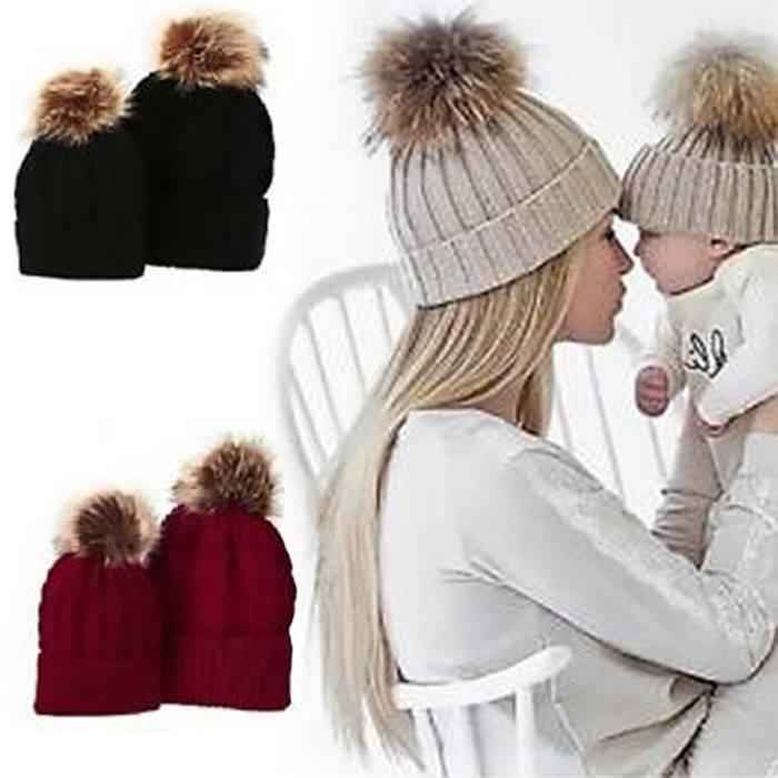 Matching Mum & Baby Pom Pom Hat Set - 6 Colours