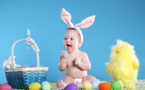 Baby in Easter outfit