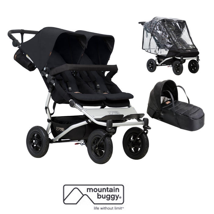 Mountain Buggy Duet V3 Twin Pushchair With Cocoon Carrycot
