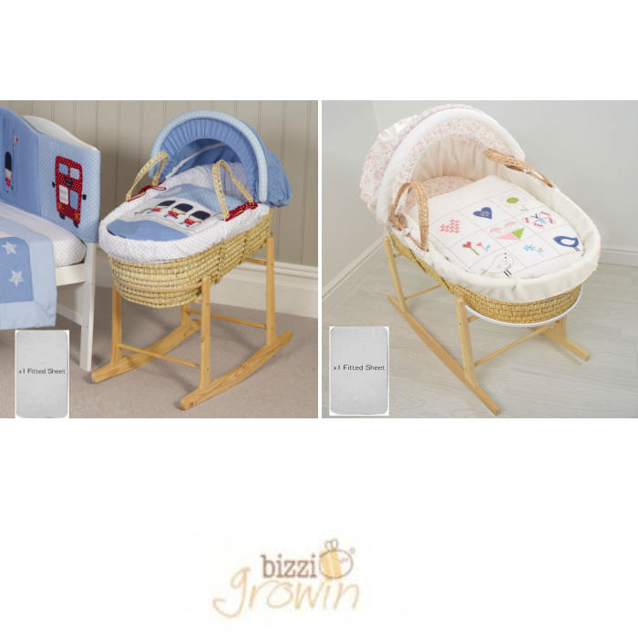 4Baby Deluxe Padded Palm Moses Basket & Rocking Stand