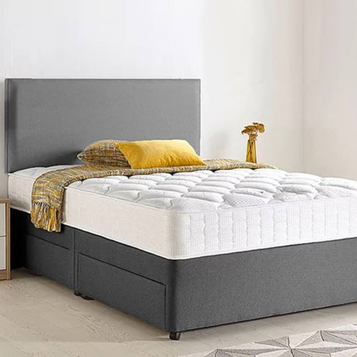 Chenille Divan Bed, Headboard & Memory Mattress plus Optional Storage - 6 Sizes!