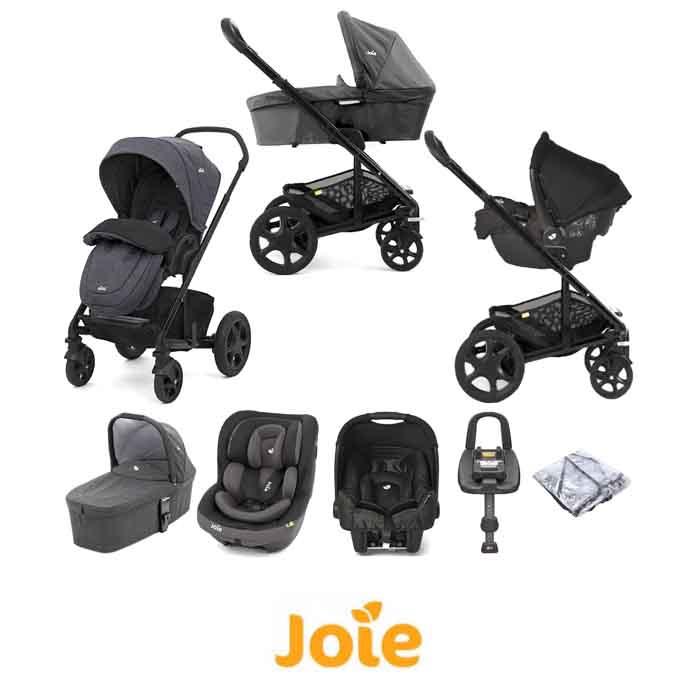 Joie Chrome DLX (i-Venture & Gemm) Travel System with Carrycot & ISOFIX Base Bundle