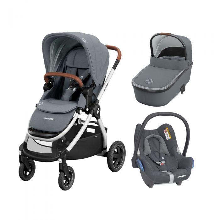 Maxi Cosi Adorra with Oria Carrycot & Cabriofix - Essential Grey