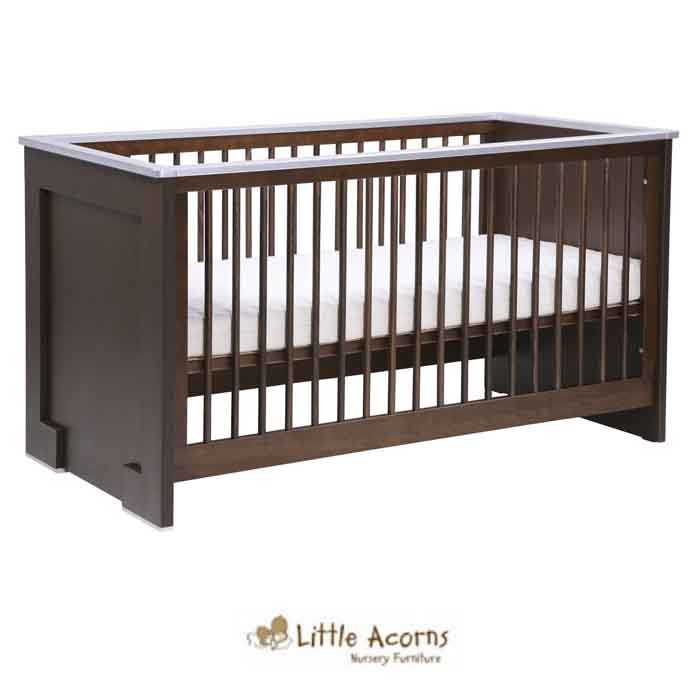 Little Acorns Luxury Modern Cot Bed with Fibre Mattress Walnut