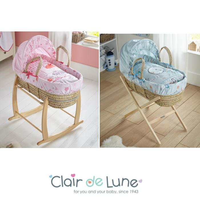 Clair De Lune Padded Palm Moses Basket And Rocking Stand