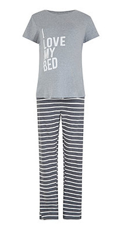 Mothercare I love my bed and stripe maternity pj set