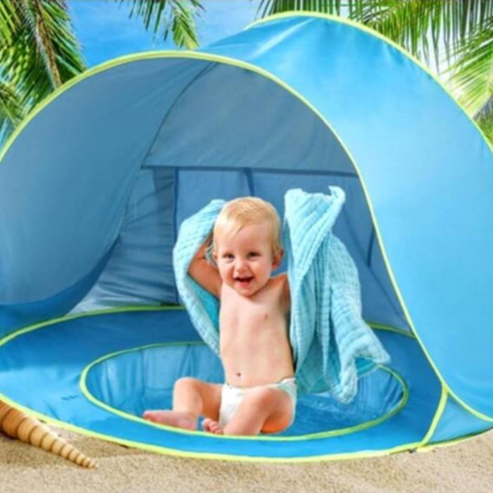 Beach Pop-Up Tent with Sunshade & Built-In Pool