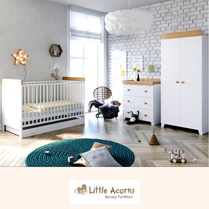 Little Acorns Classic Milano Cot Bed 6 Piece Nursery Furniture Set with Deluxe Foam Mattress