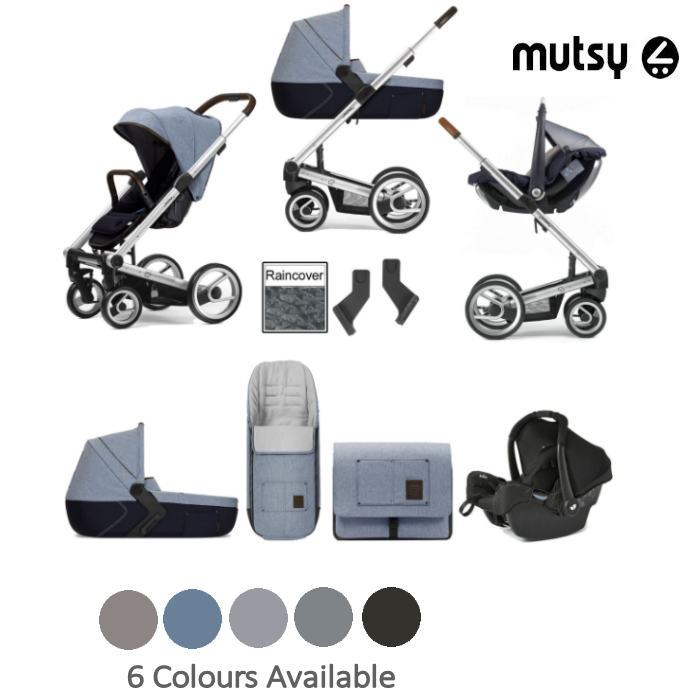 Mutsy I2 Heritage Silver Chassis Travel System Gemm