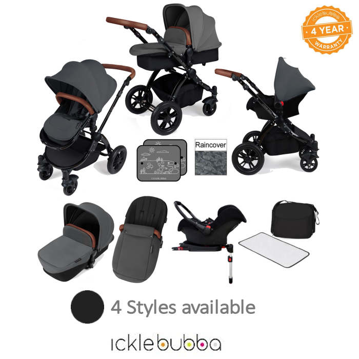Ickle bubba Stomp V3 Black All In One Travel System & Isofix Base