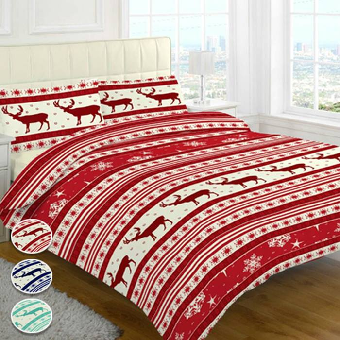 Reindeer Holly Christmas Duvet Cover Set - 3 Colours & 4 Sizes