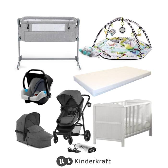 Kinderkraft Juli & Cot Bed Bundle-Grey