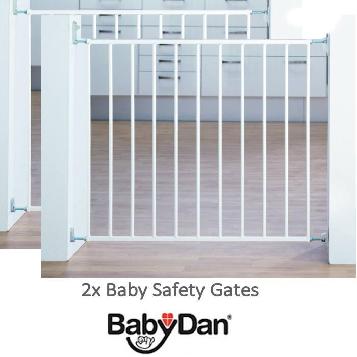 Babydan No Trip Baby Safety Gate (Pack of 2) - White Metal (72 - 78.5cm)