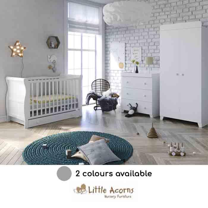 Little Acorns Sleigh Cot 6 Piece Nursery Furniture Set With Deluxe 4inch Foam Mattress