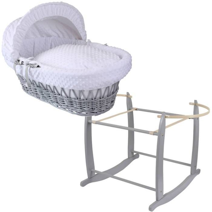 Clair de Lune Grey Wicker Moses Basket & Deluxe Rocking Stand