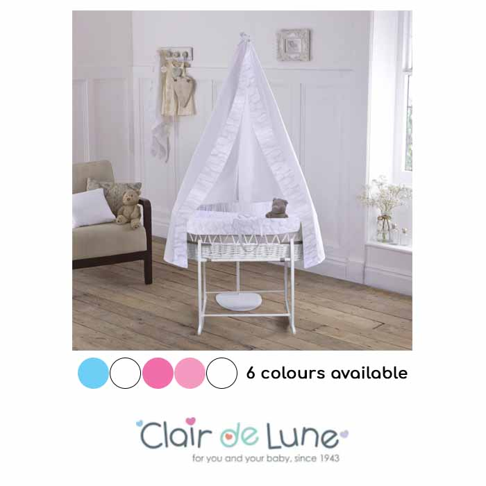 Clair De Lune 6 Piece White Wicker Moses Basket, Stand & Drape Set