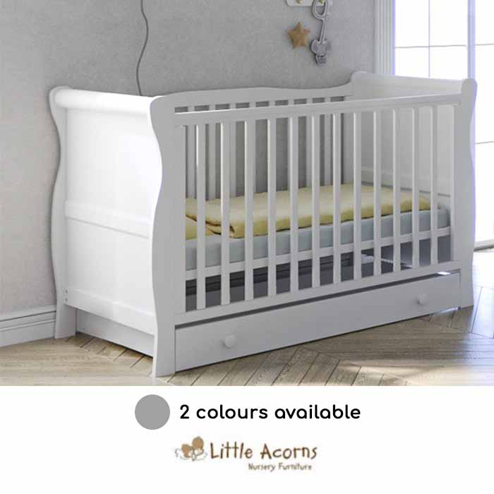 Little Acorns Sleigh Cot Bed With Deluxe Foam Mattress