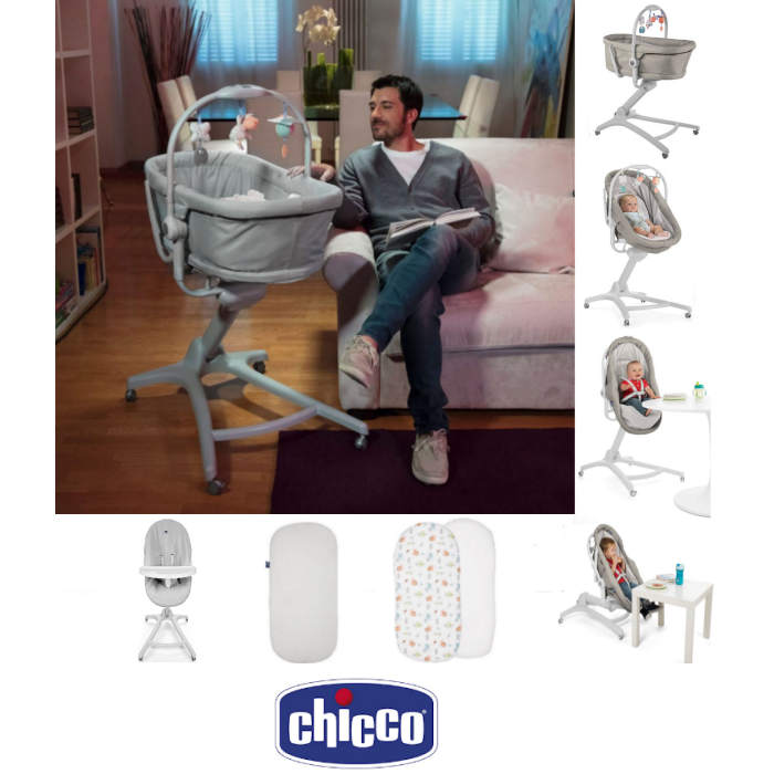 Chicco 5 Piece 4in1 Baby Hug Seat, High Chair & Crib Meal Time Nursery Bundle - Legend