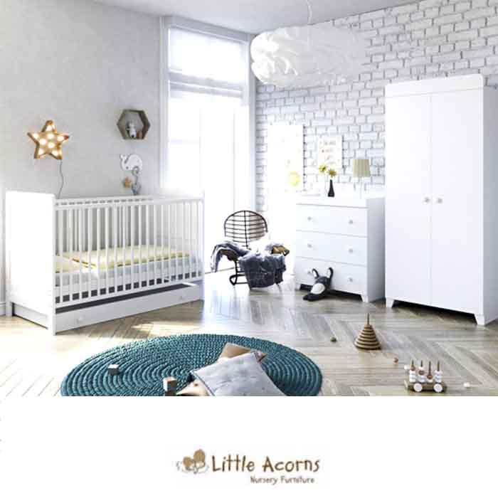 Little Acorns Classic Milano Cot Bed 5 Piece Nursery Furniture Set with Deluxe Foam Mattress