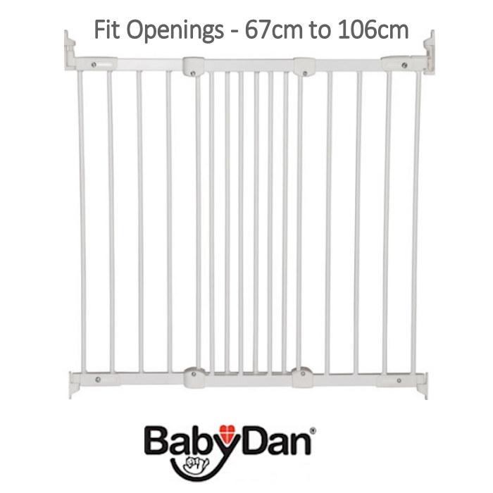 Babydan Super Flexi Fit Extending Safety Gate (Pack of 2) - White (67 - 106cm)