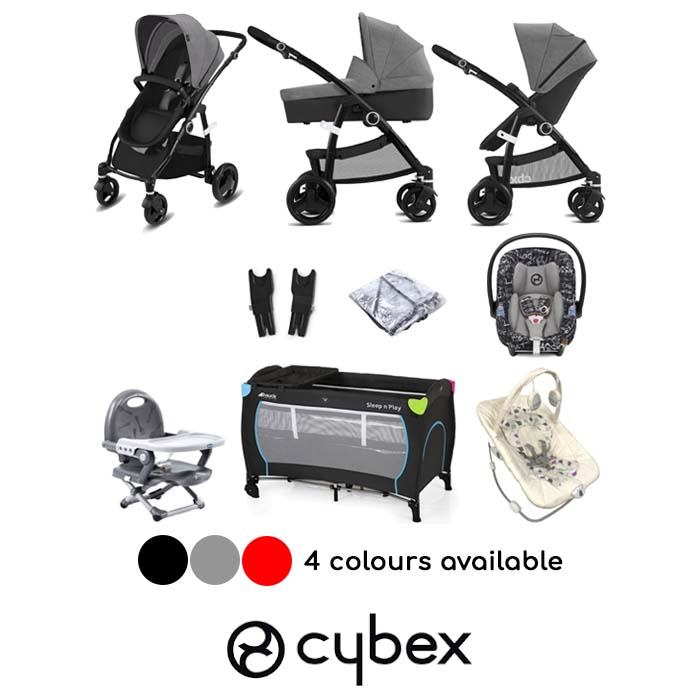 Cybex CBX Leotie Pure (Aton M i-Size/Aton/Shima) Everything You Need Travel System Bundle with Carrycot