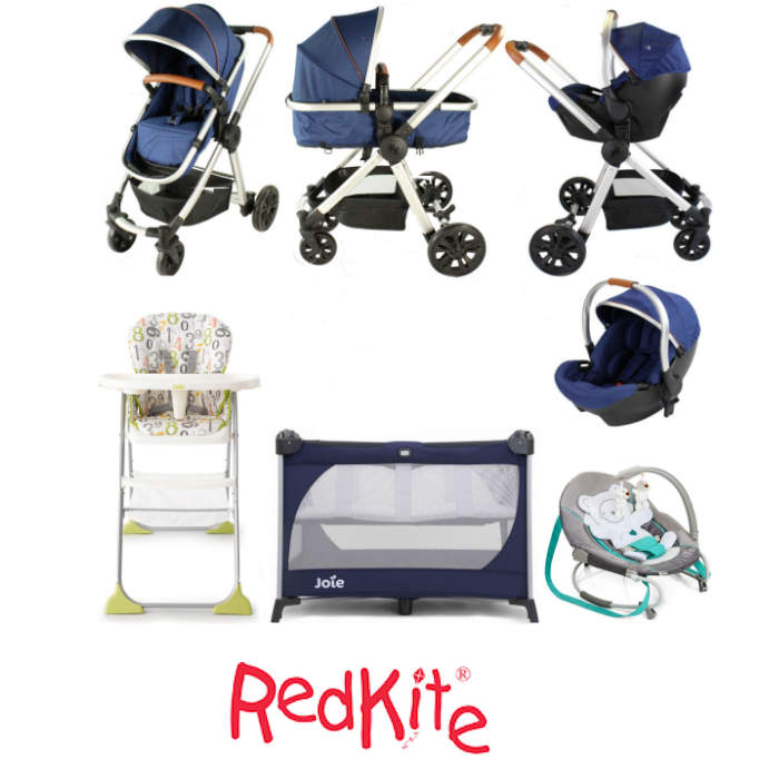 Red Kite / Joie Push Me Fusion Everything You Need Travel System Bundle - Navy Denim