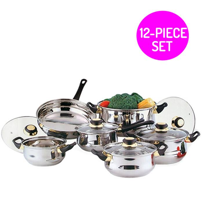 12-Piece Stainless Steel Pot & Pan Set