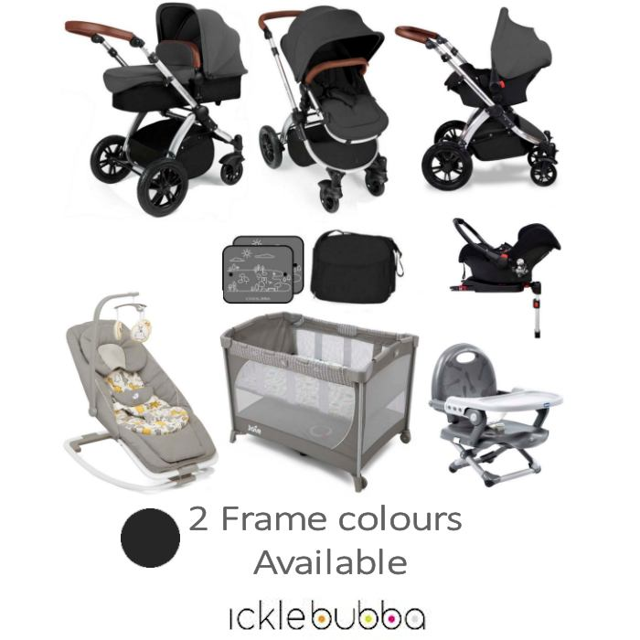 Ickle Bubba / Joie Stomp V3 Silver Everything You Need Travel System Bundle (With Base)