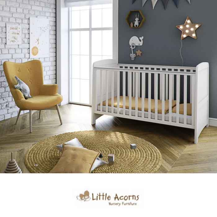 Mothercare Little Acorns Somerton Cot Bed with Deluxe Foam Mattress - White