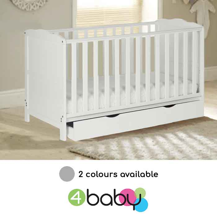 4Baby Classic Cot Bed With Drawer & Deluxe Foam Mattress