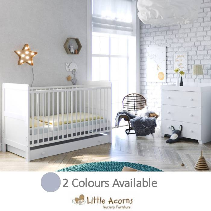 Little Acorns Classic Milano Cot Bed 4 Piece Nursery Furniture Set with Deluxe Foam Mattress
