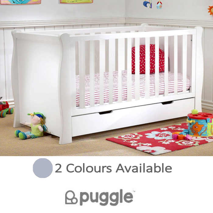 Puggle 3 in 1 Sleigh Cot With Drawer & Foam Mattress