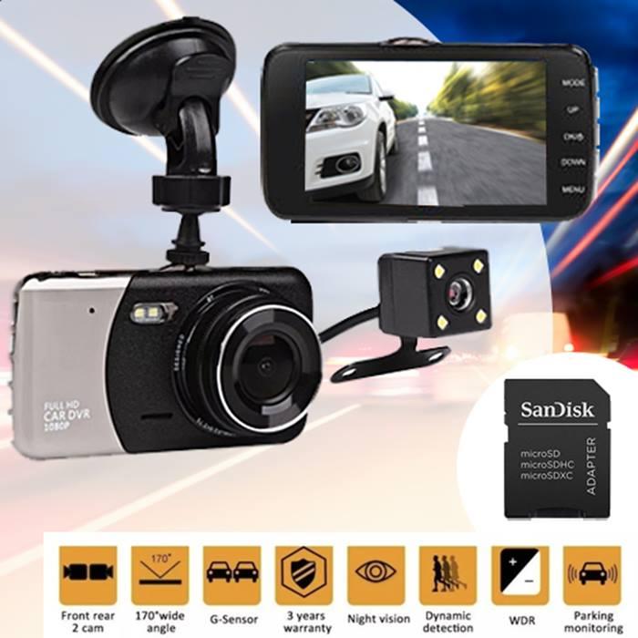 Falcon-Cam HD Front & Rear Dash Cam + Collision G-Sensor