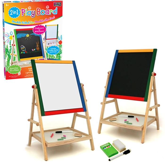 2-in-1 Kids' Magnetic Chalk and White Board - Includes Chalk, Markers & Erasers!