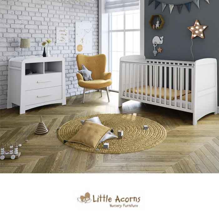 Little Acorns Somerton Cot Bed 3 Piece Nursery Furniture Set with Deluxe Foam Mattress