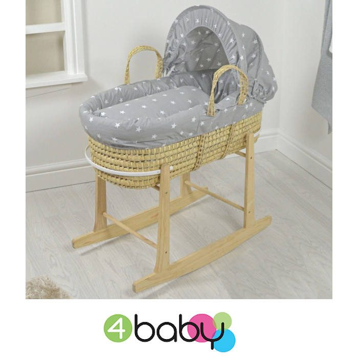4baby Deluxe Palm Moses Basket Rocking Stand Grey White Stars