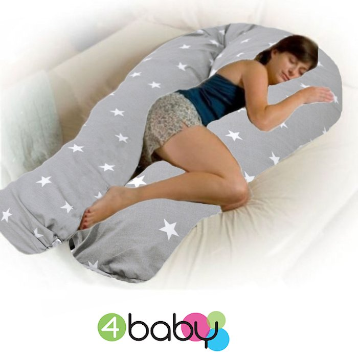 4baby 12ft Body Baby Sleep Support Pillow Grey White Stars