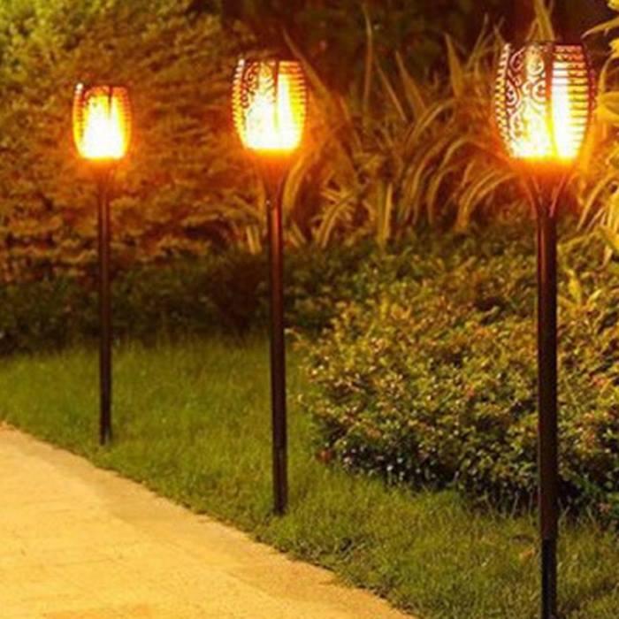 Flickering Flame Effect Garden Solar Lamps - 1 or 4 Pack!