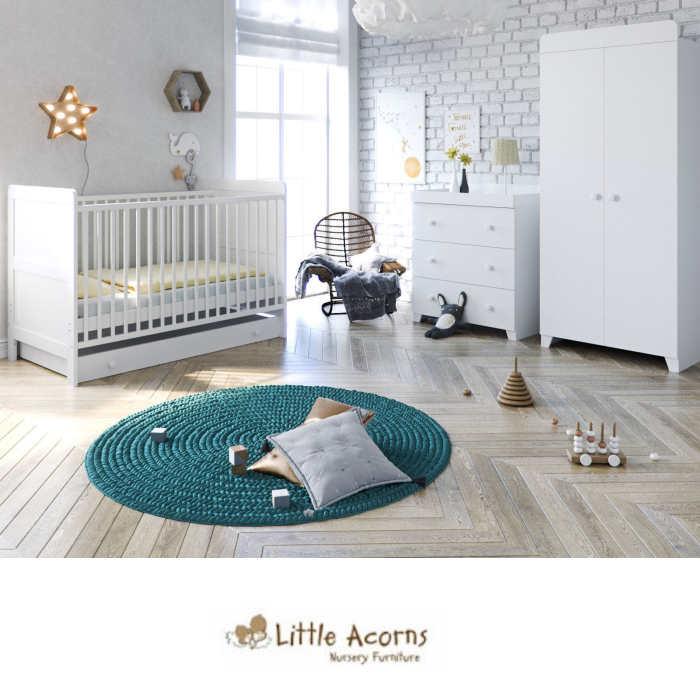 Little Acorns Classic Cot 5 Piece Nursery Room Set with Deluxe Foam Mattress - White