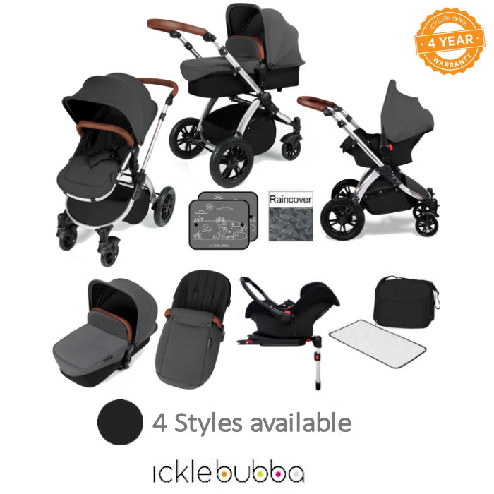 Ickle Bubba Stomp V3 Silver All In One Travel System & Isofix Base
