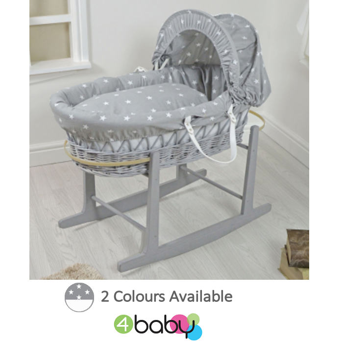 4Baby Padded Grey Wicker Baby Moses Basket and Rocking Stand