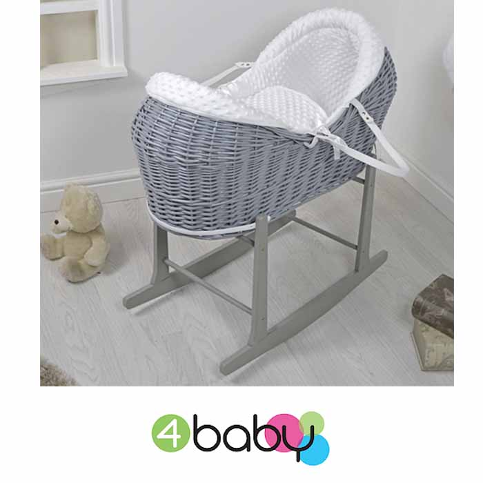 4baby Grey Wicker Deluxe Rollover Snooze Pod Moses Basket & Rocking Stand